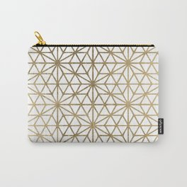Modern geometric gold stars pattern on white Carry-All Pouch