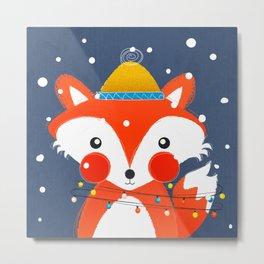 Cute christmas fox in the snow Metal Print