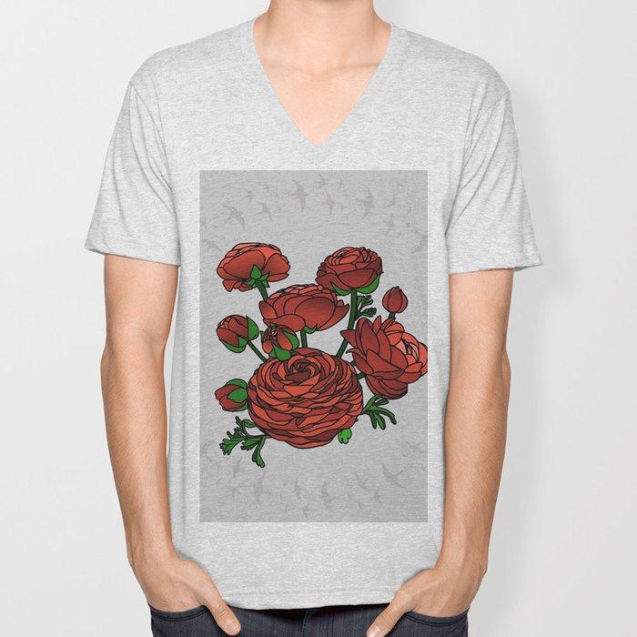 Doves and Red Roses Unisex V-Neck