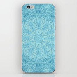 Abstract blue thistle mandala iPhone Skin