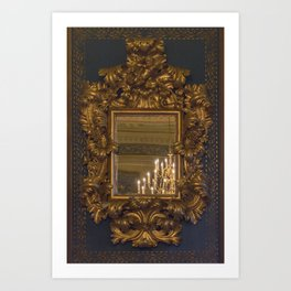 Grand Gold vintage mirror with chandelier reflection Art Print