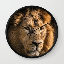 Mr. Lion King - Close up lion portrait Wall Clock