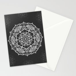 dark gray bw grey mandala pattern design Stationery Cards