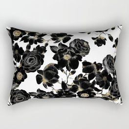 Modern Elegant Black White and Gold Floral Pattern Rectangular Pillow