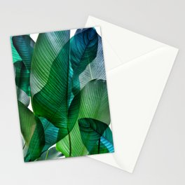 Palm leaf jungle Bali banana palm frond greens Stationery Cards