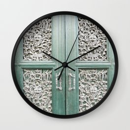 Cottage Chic Storybook Door - Turquoise and White Intricate Filigree Carved Architectural Close Up Travel Photography Wall Clock