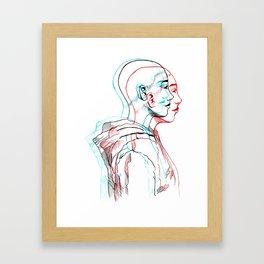 3D Bald Girls Bleed Gold Framed Art Print