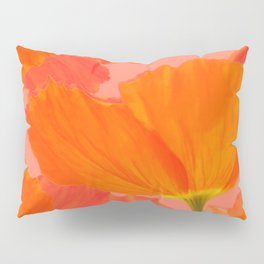 Beautiful Poppies Coral Color Background #decor #society6 #buyart Pillow Sham