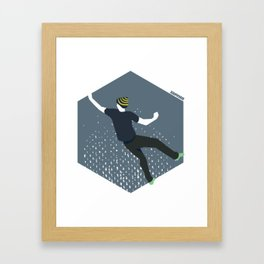 bouldering man Framed Art Print