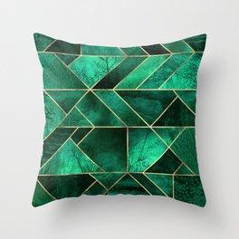 Abstract Nature - Emerald Green Throw Pillow