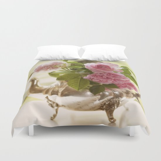 Pink English Roses in a silver Pot- Vintage Rose Stilllife Photography Duvet Cover