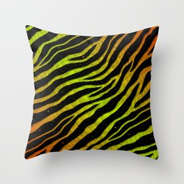 Ripped SpaceTime Stripes - Orange/Lime Throw Pillow