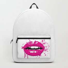 Pink lips fashion illustration Backpack