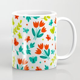 Easter Red Tulip Garden Pattern Coffee Mug