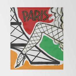 Vintage Paris France Travel Throw Blanket