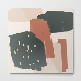 Burnt orange Green and Taupe Brush Strokes Art, 804-2-4 Boho decorative art Metal Print