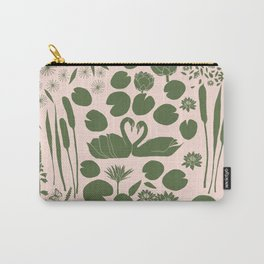 Pond Affair in Pink and Green Carry-All Pouch