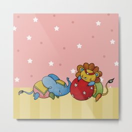 Lion and Elephant have a Playdate Metal Print