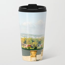 A couple of chairs on the top of a lookout watching the landscape I Travel Mug