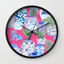 Chinoiserie chic, Chinese ginger jars on hot pink Wall Clock