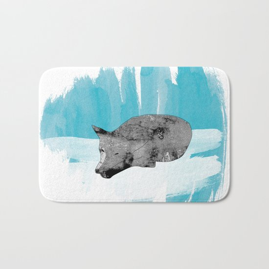 sleeping wolf Bath Mat