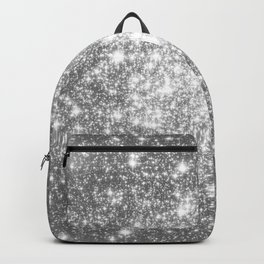 Silver Gray Galaxy Sparkle Stars Backpack