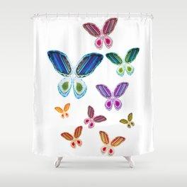 A Rainbow of Agate Butterflies Shower Curtain