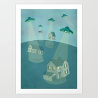 ufo Art Prints featuring UFO by Banessa Millet