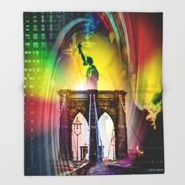 New York Brooklyn Bridge, Statue of Liberty Throw Blanket