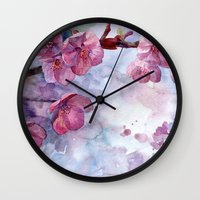 "sakura Wall Clocks featuring ""Sakura"" by Emma Reznikova"