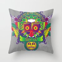 majora Throw Pillows featuring Majora Nouveau by Mareve Design