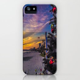 Belmont Shores Christmas Sunset iPhone Case