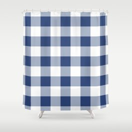 Navy Gingham Pattern Shower Curtain
