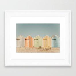 Summer Beach Huts Framed Art Print