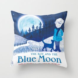 The Boy and the Blue Moon Throw Pillow