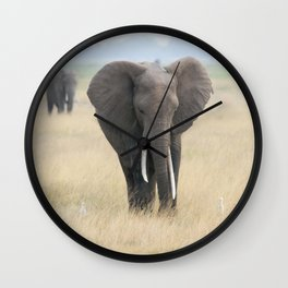 elephants and egrets Wall Clock