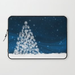 Blue Christmas Eve Snowflakes Winter Holiday Laptop Sleeve
