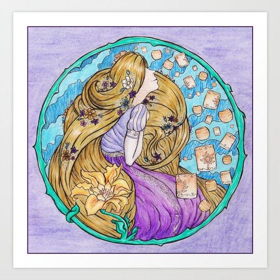 Rapunzel Art Nouveau Style Art Print