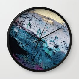 Twilight [2]: a beautiful, abstract watercolor + mixed-media piece in blue, gold, purple, + pink Wall Clock