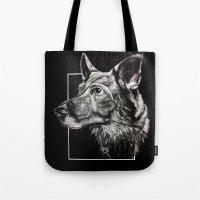 german shepherd Tote Bags featuring German Shepherd by Ashley Anderson