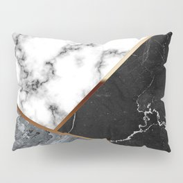 Elegant Silver Marble with Bronze Lining Pillow Sham