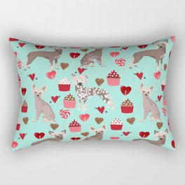 Chinese Crested valentines day cupcakes hearts gifts for unique dog breed owners love Rectangular Pillow