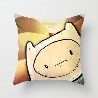 finn Throw Pillows featuring Finn by Unihorse