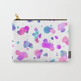 Spots and Drops - Bright pink and blue Carry-All Pouch