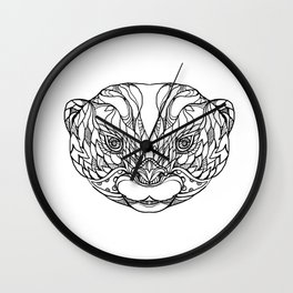 Oriental Small-clawed Otter Doodle Art Wall Clock
