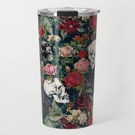 Distressed Floral with Skulls Pattern Travel Mug