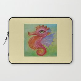 Baby Dragon Sea Horse Ice Cream color book illustration for kids Oil painting on canvas Pastel color Laptop Sleeve
