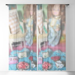 Doll Tea Party Sheer Curtain