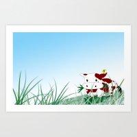 cowandgrass Art Print
