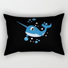 Cute Cartoon Unicorn Whale Fish Children Motif Rectangular Pillow